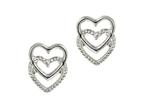 14k White Gold Open Double Heart Stud Earrings     Hollow Center