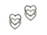 14k White Gold Open Double Heart Stud Earrings     Hollow Center