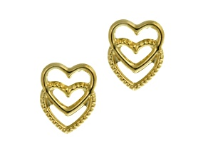 14k Yellow Gold Open Double Heart Stud Earrings