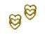 14k Yellow Gold Open Double Heart Stud Earrings
