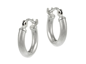 10k White Gold .64mm X 11mm Mini Hoop Earrings