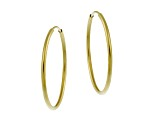 10k Yellow Gold .5mm X 20mm Endless Hoop Earrings