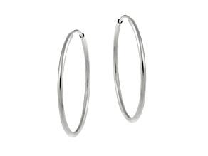 10k White Gold .5mm X 20mm Endless Hoop Earrings    Hollow Center