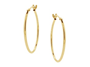 10k Yellow Gold .62mm X 10mm High Polish Hoop Earrings    Hollow Center