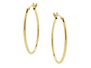 10k Yellow Gold .62mm X 14mm High Polish Hoop Earrings    Hollow Center