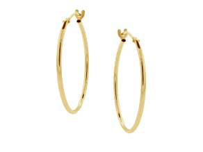10k Yellow Gold .62mm X 21mm High Polish Hoop Earrings    Hollow Center