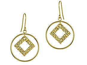 10k Yellow Gold Open Circle Dangle Earrings, Hollow Center