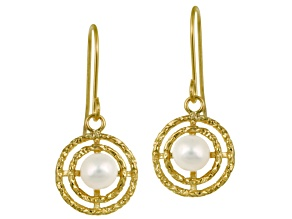 4-5mm Round White Cultured Freshwater Pearl 10k Yellow Gold Circle Dangle Earrings