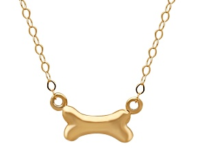 14k Yellow Gold Polished Dog Bone 17 inch Necklace    Hollow Center