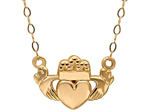14K YELLOW GOLD POLISHED CLADDAGH 17 INCH NECKLACE    HOLLOW CENTER