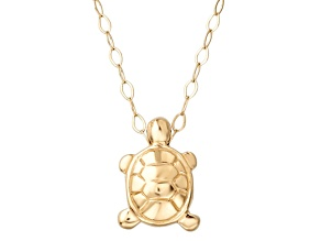 14k Yellow Gold Polished Turtle 17 inch Necklace      Hollow Center