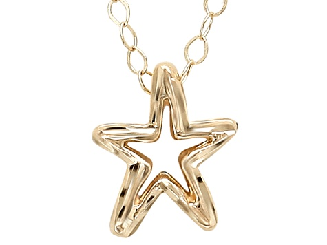 10k Yellow Gold Diamond Cut Starfish Polished 17 inch Necklace     Hollow Center