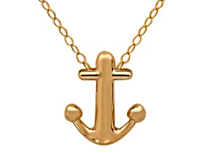 10k Yellow Gold Anchor Charm 17 inch Necklace     Hollow Center