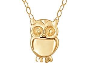 10k Yellow Gold Owl 17 inch Necklace     Hollow Center