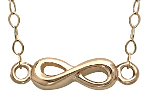 10k Yellow Gold infinity Charm 17 inch Necklace    Hollow Center