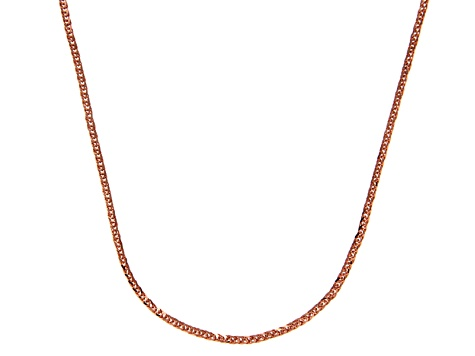 14k Rose Gold Square Spiga Link Chain Necklace 18 inch 1mm