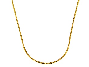 14k Yellow Gold Diamond Cut Square Spiga Chain Necklace 16 inch 1mm