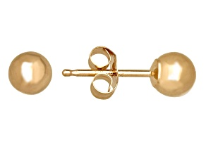 14k Yellow Gold 4mm Ball Stud Earrings   Hollow Center