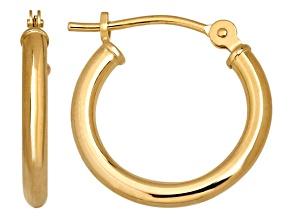 14k Yellow Gold 2x15 Round Hoop Earrings      Hollow Center