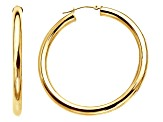 14k Yellow Gold Polished 2x30 Hoop Earrings   Hollow Center