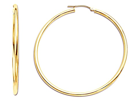 a64a3132fe556 14k Yellow Gold Polished 2x50 Hoop Earrings Hollow Center