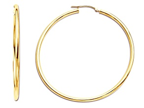 14k Yellow Gold Polished 2x50 Hoop Earrings     Hollow Center