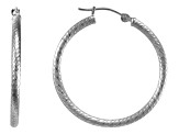 14k white gold twisted tube hoop earrings