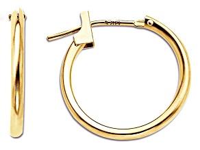 14k Yellow Gold 15mm Hoop Earrings      Hollow Center