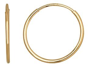 14k Yellow Gold 12mm Endless Hoop Earrings  Hollow Center