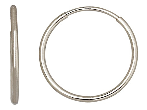 14k White Gold 12mm Endless Hoop Earrings    Hollow Center