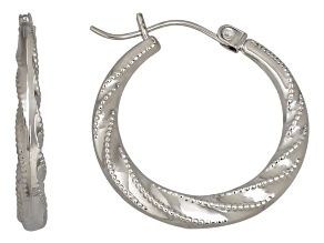 14k White Gold Beaded Design Swirl Hoop Earrings      Hollow Center