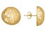 14k Yellow Gold Diamond Cut Cross-Hatch Button Earrings  Hollow Center