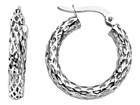 14k White Gold Polished Diamond Cut Glitter Mesh Hoop Earrings      Hollow Center