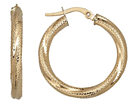14k Yellow Gold 3x20mm Round Textured Twist Hoop Earrings Hollow Center Made In Italy