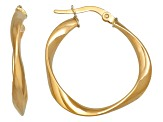 14k Yellow Gold 3x20mm Polished Twisted Round Hoop Earrings      Hollow Center