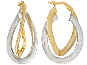14k Yellow And White Gold Polished Oval Knife Edge Hoop Earrings    Hollow Center