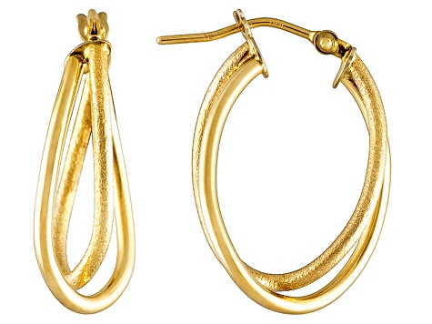 14k Yellow Gold Polished Textured Overlapped Oval Hoop Earrings   Hollow Center