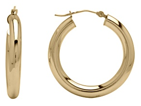 14k Yellow Gold Polished 4x27mm Hoop Earrings         Hollow Center