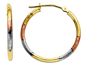 14k Tri Color Yellow Gold Polished/Satin Diamond Cut 8x23mm Hoop Earrings    Hollow Center
