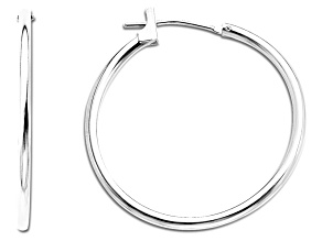 14k White Gold 25mm Hoop Earrings      Hollow Center