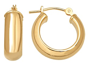 14k Yellow Gold Polished Bold Half Round Hoop Earrings      Hollow Center