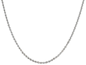 14k White Gold 2.00mm Rope Link 18 inch Chain