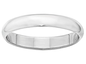 14k White Gold 4mm Half-Round Band Ring