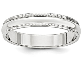 14k White Gold 4mm Milgrain Band Ring