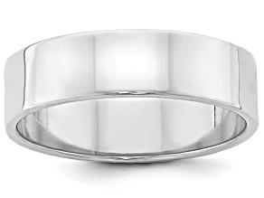 14k White Gold 6mm Flat Band Ring
