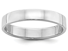 14k White Gold 4mm Flat Band Ring