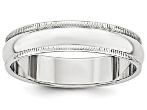 14k White Gold 5mm Milgrain Band Ring