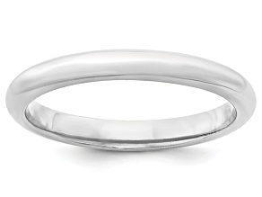 14k White Gold 3mm Comfort-Fit Band Ring