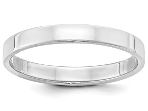 14k White Gold 3mm Flat Band Ring