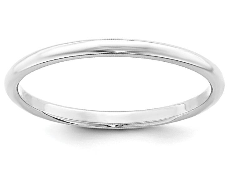 Solid 10k White Gold 2mm Half Round Wedding Band
